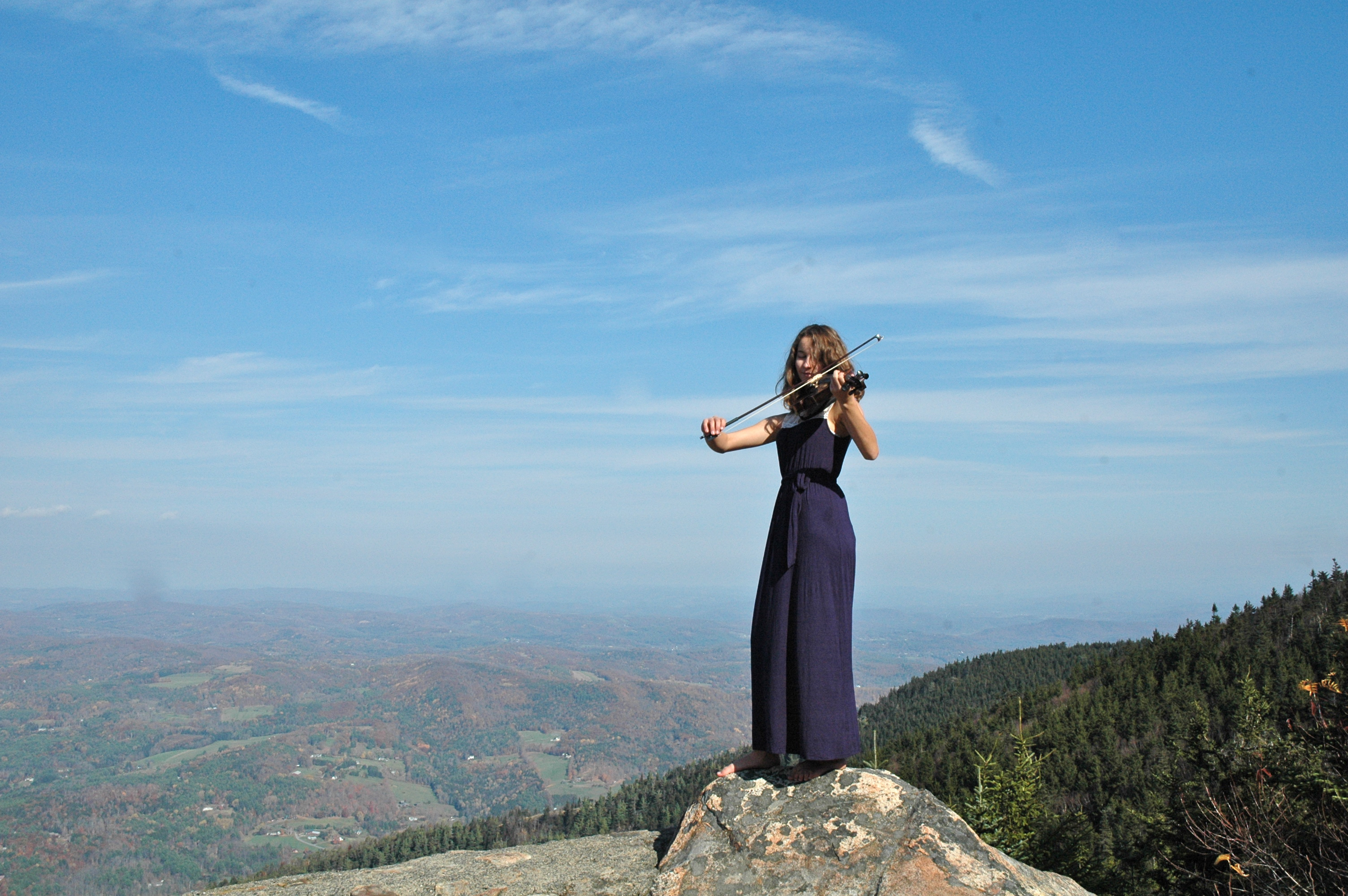Violinist on Mountain